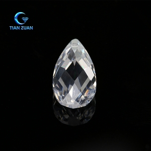 hot sale cubic zirconia white color pear shape length synthetic cz gemstone