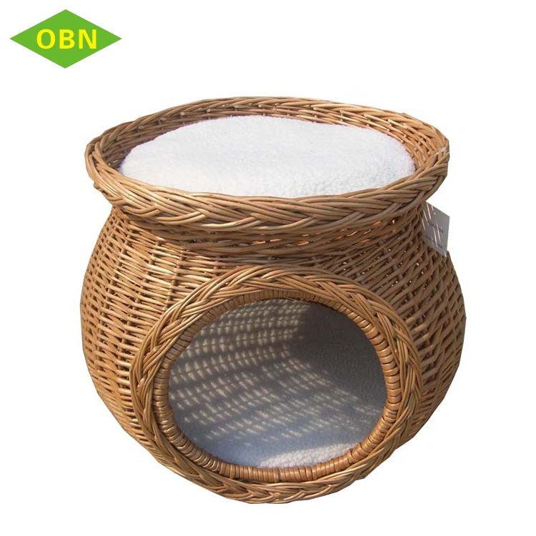 Custom comfortable nature large handmade 2 layer round willow wicker dog bed