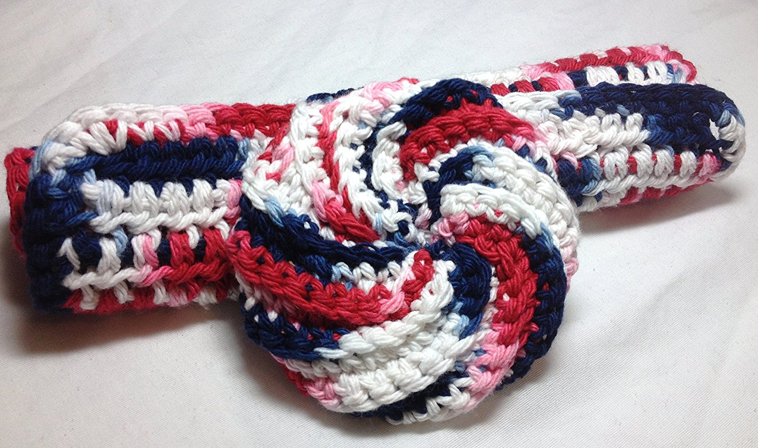 Red, white, and blue handmade, 100% cotton crocheted round scrubber and wash cloth/dish cloth- 2 piece set