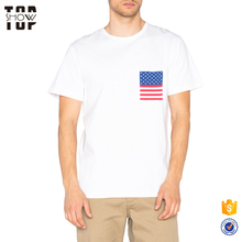 Chinese clothing manufacturers flag chest pocket custom printed t shirts for men