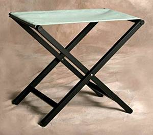 Director Style Small Footstool with Aluminum Frame in Spa