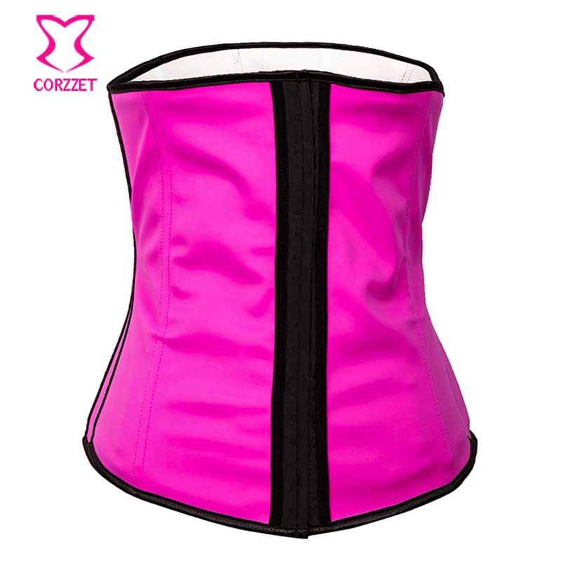 7957908a26 Get Quotations · Gothic Clothing Rose Red Steel Boned Waist Training Latex  Corset Underbust Waist Trainer Body Shaper Women