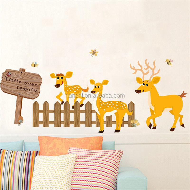 Cute deer fence art wall sticker for kids room decoration living room wall decals removable waterproof murals
