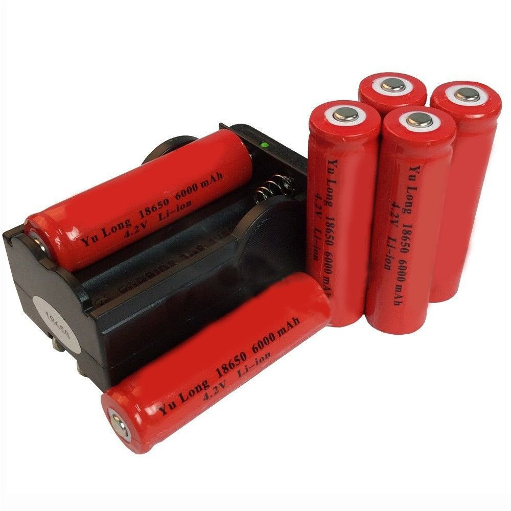 Simply Silver - Rechargeable Battery - 6x 18650 4.2V Li-ion 6000mAh Red Rechargeable Battery+ GTL Charger USA