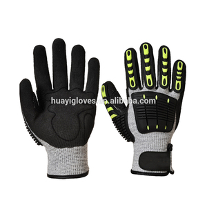 Anti Cut Level 5 Anti Vibration Heavy Duty Work tpr Mechanic Gloves oil Gloves
