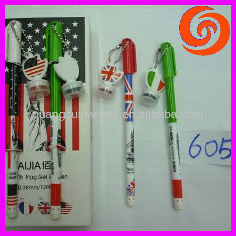 fashion plastic country flag pen stamp for cute children