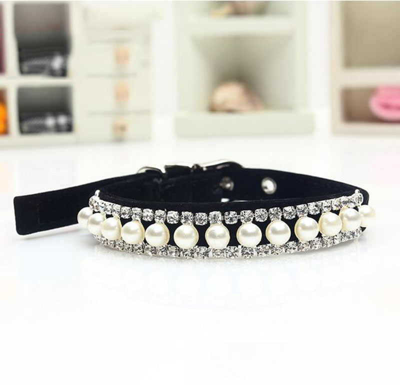 Luxury Pet Jewelry Bling Dogs Accessories Pearl Necklace Rhinestone Crystal Pet Cat Collar Safety Elastic Belt GP160112-4