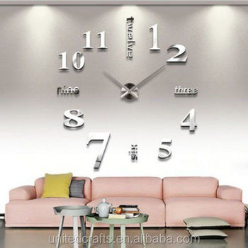 home office room decor diy large wall clock 3d mirror surface