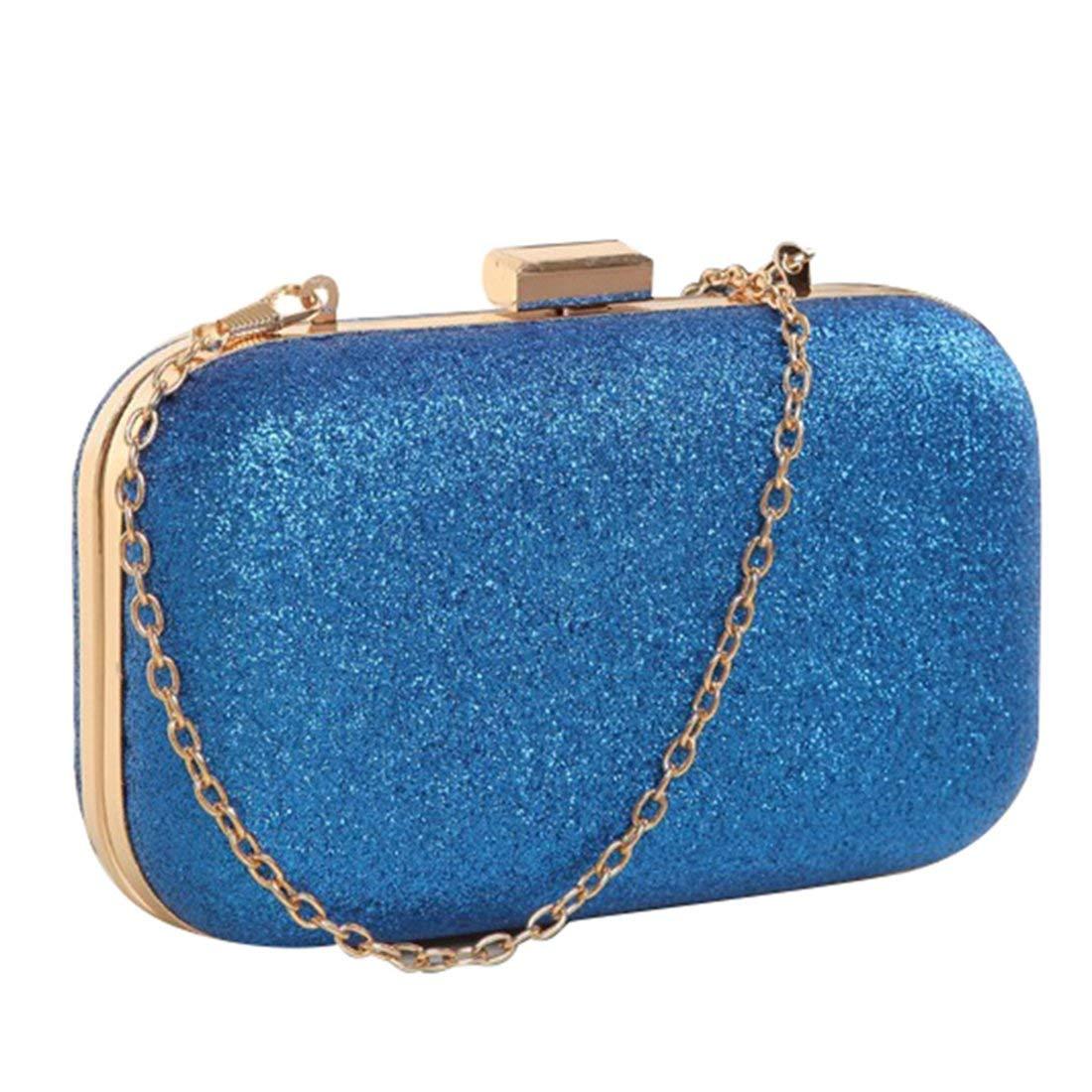 Mini Evening Bag - SODIAL(R)PU leather Women's mini evening bag fashion clutch banquet bag girls shoulder bag Messenger bag, Blue