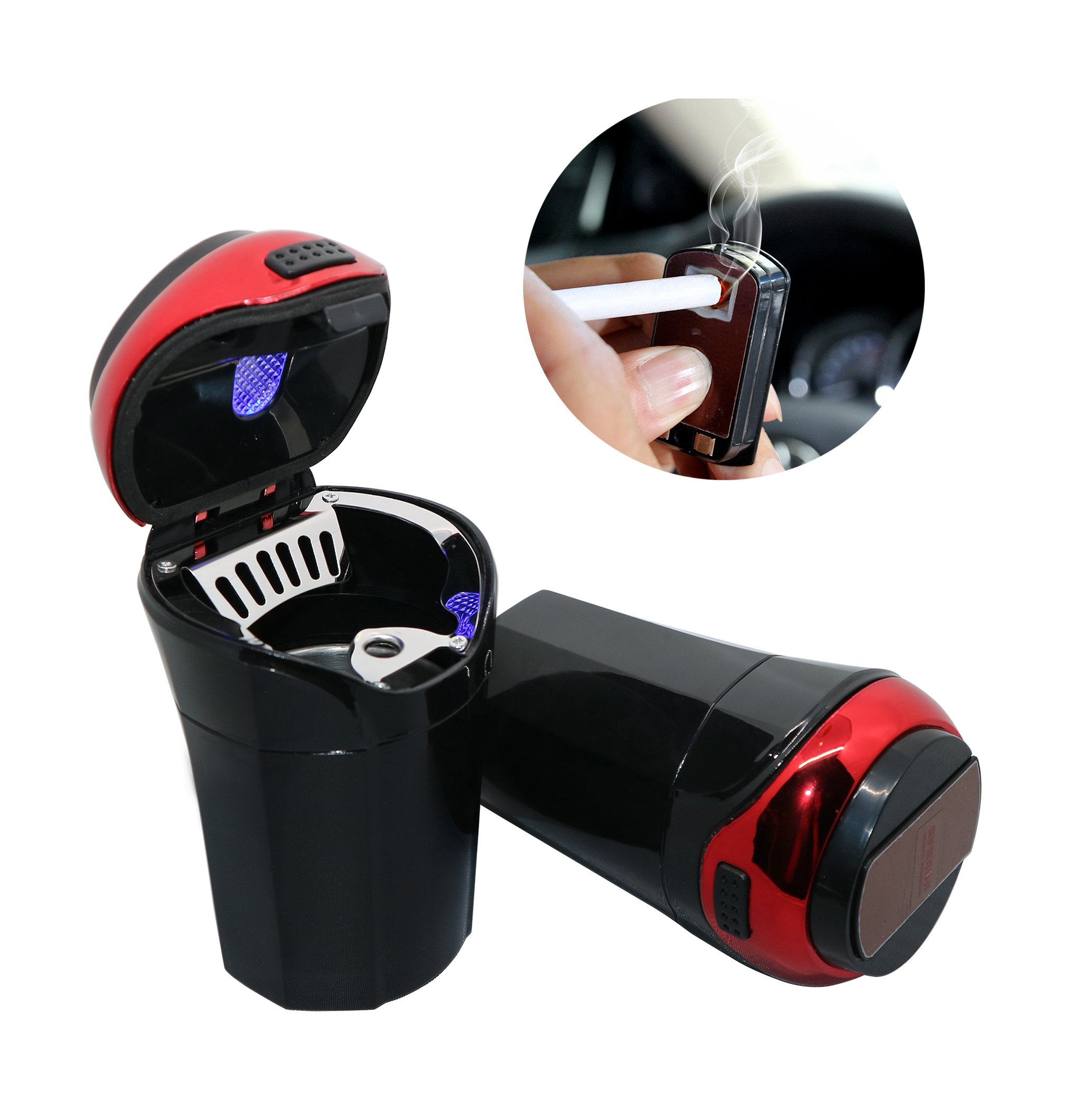 OUYIA Car Ashtray for Most Car Cup Holder, Smokeless Ashtray Cup with Lid Detachable Lighter Suitable for Home&Office(RED)