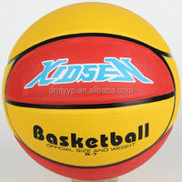 Xidsen Qianxi Rubber 10 panels Basketball size 7,bright yellow,bright red color Embossed logo