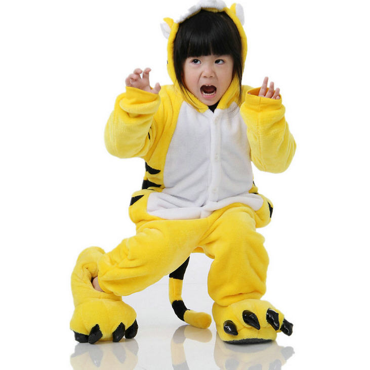 Children Kids Fleece Animal Pajamas Cute Cartoon Cosplay Onesie Pijama boys  and Girls Pajamas Panda Tiger 4e9b718c62f2