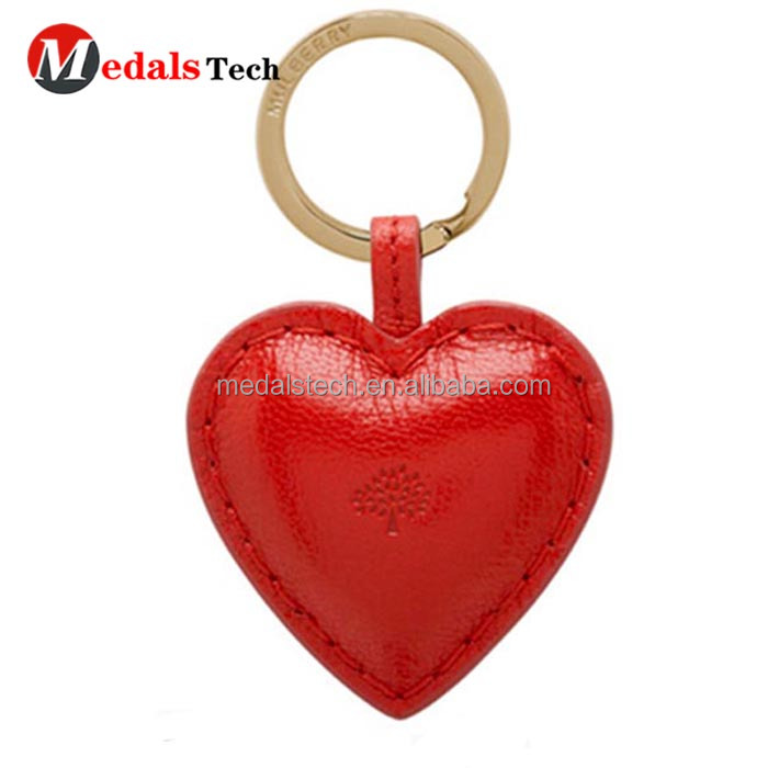 Red Leather Heart Shaped Keyring Personalised With Initials
