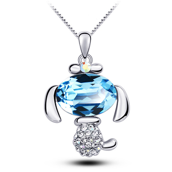 NL00075 WT cute gold plated pendant personality micro set crystal pony necklace jewelry for pet lovers