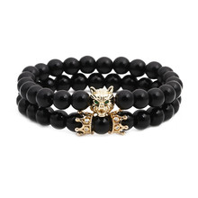 Wholesale Retro Men Bracelet Healing Balance Matte Beads Stone Bracelet Skull Bangle Double sets Crown Bead Charm Bracelet