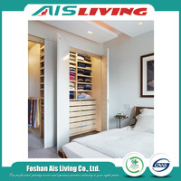 Diy modern fashionable open wooden closets walk in wardrobe with shelves