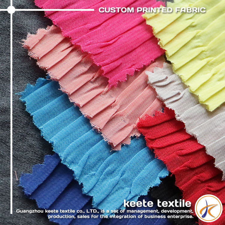 Multicolor plain dyed cheap price 100% polyester pleated woven chiffon fabric