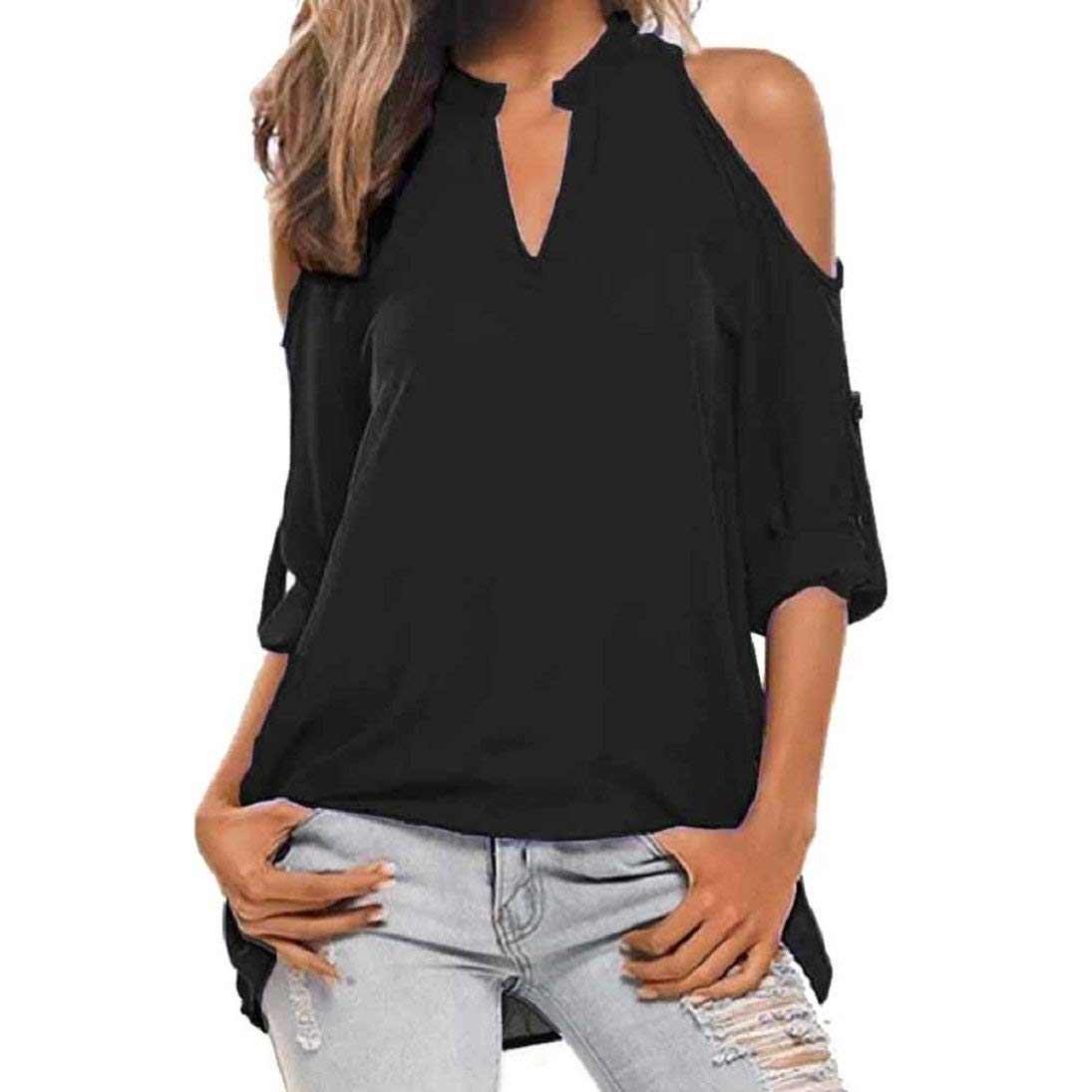 Women's Shirt Pullover Cold Shoulder Casual Long Sleeve Strapless V-neck Tops Blouse Women's Shirt Pullover Cold Shoulder Casual Long Sleeve Strapless V-neck Tops Blouse (S, Black)