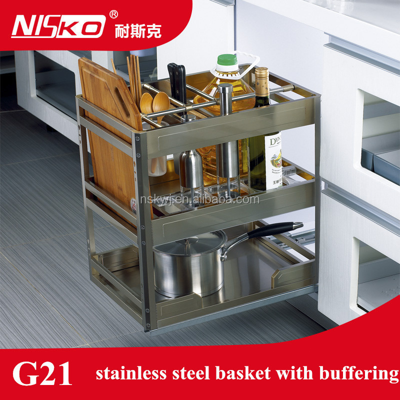Kitchen cupboard pull out stainless steel Bowl and Plate Basket