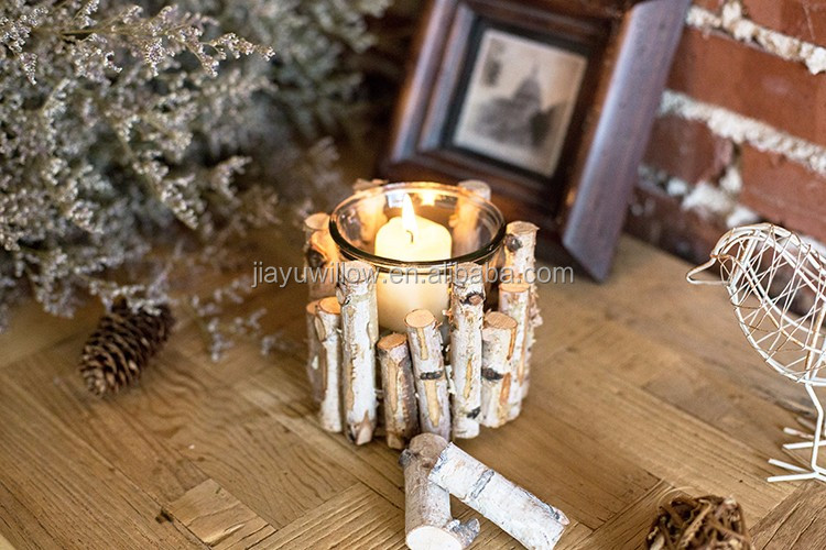 Vintage Chic Wooden Wicker Candle Holder Light Holder Christmas
