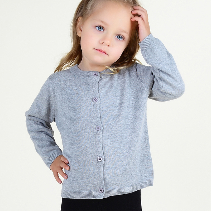 c170 2017 Baby Girls Knit Cardigan Sweater Pure Color Children Cotton Knitwear Outwear Kids Spring Autumn Tench sweaters