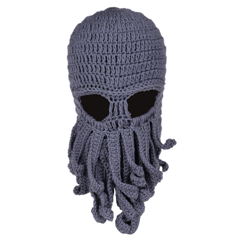 VBIGER Beard Hat Beanie Hat Knit Hat Winter Warm Octopus Hat Windproof Funny  For Men   38cf7d8659a6