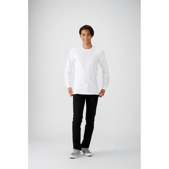 Custom 100% Cotton Crew Neck Rib Trim Long Sleeve Men Plain White T shirt