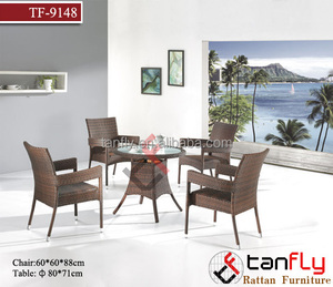 TF-9148 Durable use Alu fram indoor and outdoor rattan wicker stackable rattan dining table and chair