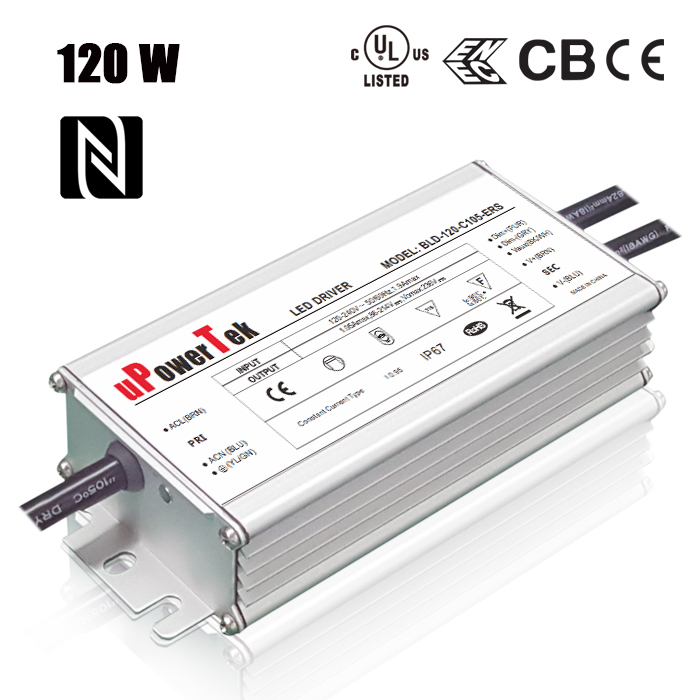 120W 2100mA to 2800mA LED Driver NFC Programmable For Outdoor Lighting