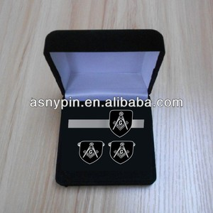 metal gift Masonic cufflinks and tie clip in presentation box