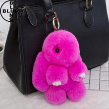 >>>2017 Hot Fashion 18 K Gold Plated Keychain with Plush Cute Genuine Rabbit Fur Key Chain for Car Key Ring or Bags