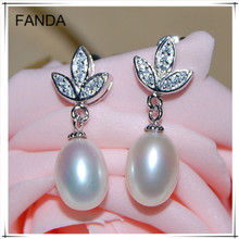 925 silver pear/teardrop freshwater pearl earrings wholesale price