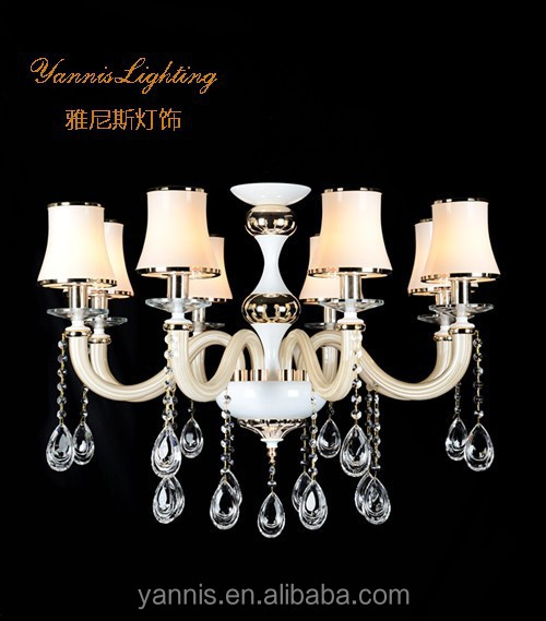 polish chrome ,glass shade ,K9 clear crystal pendant candle chandelier hanging lamps for home decoration