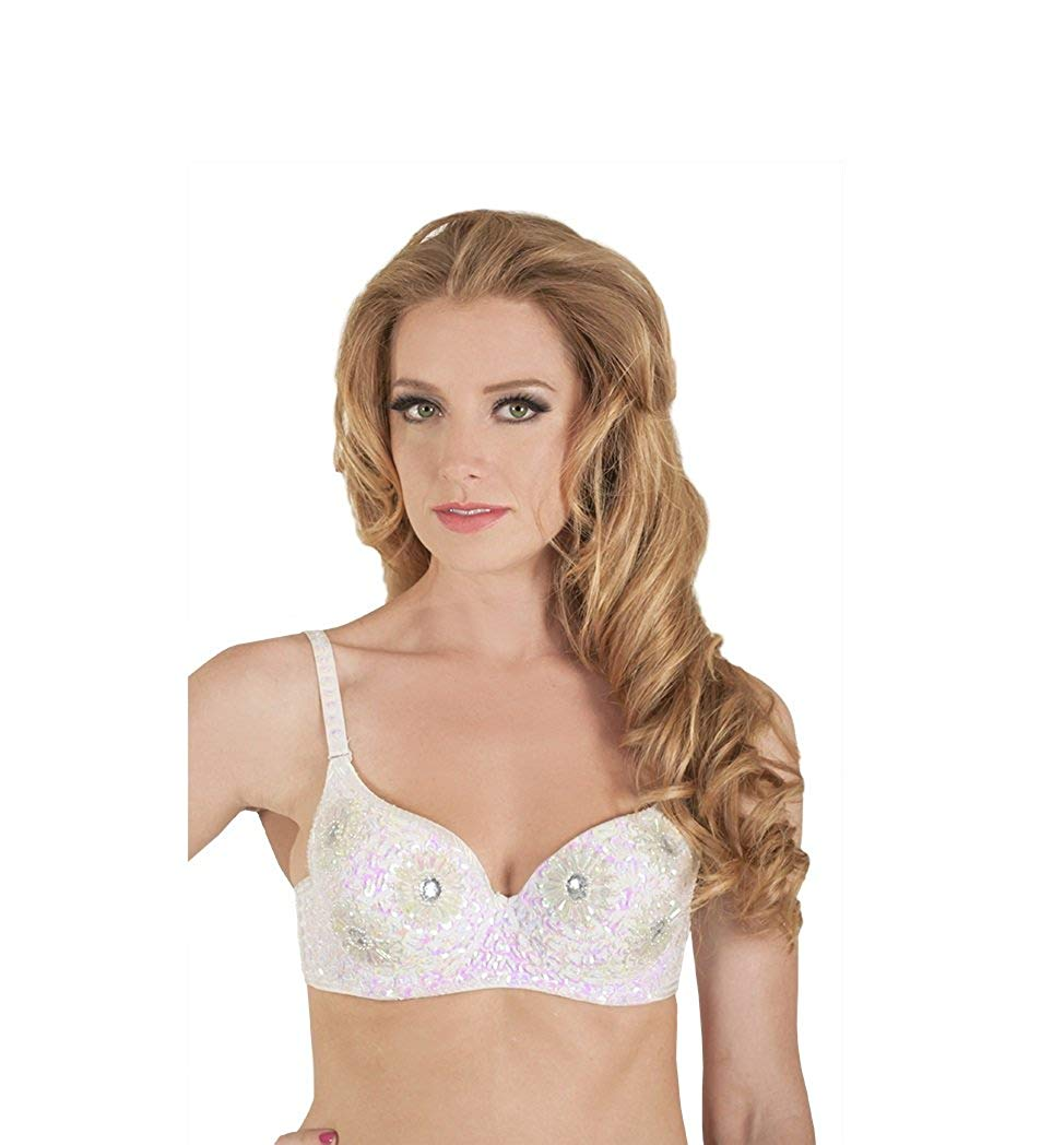 f92a16d729 Get Quotations · Arsimus Beaded Flower Sequin Festival Adjustable Push-up  Bra
