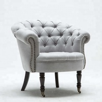 Furniture Wooden Chair Lounge Fabric Armchair Corner Tufted Leisure Accent Single Living Room Sofa