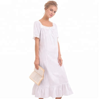 Short sleeves womens victorian style princess sleep dress long white cotton nightgown  vintage nightdress sleepwear e41aed7e1556