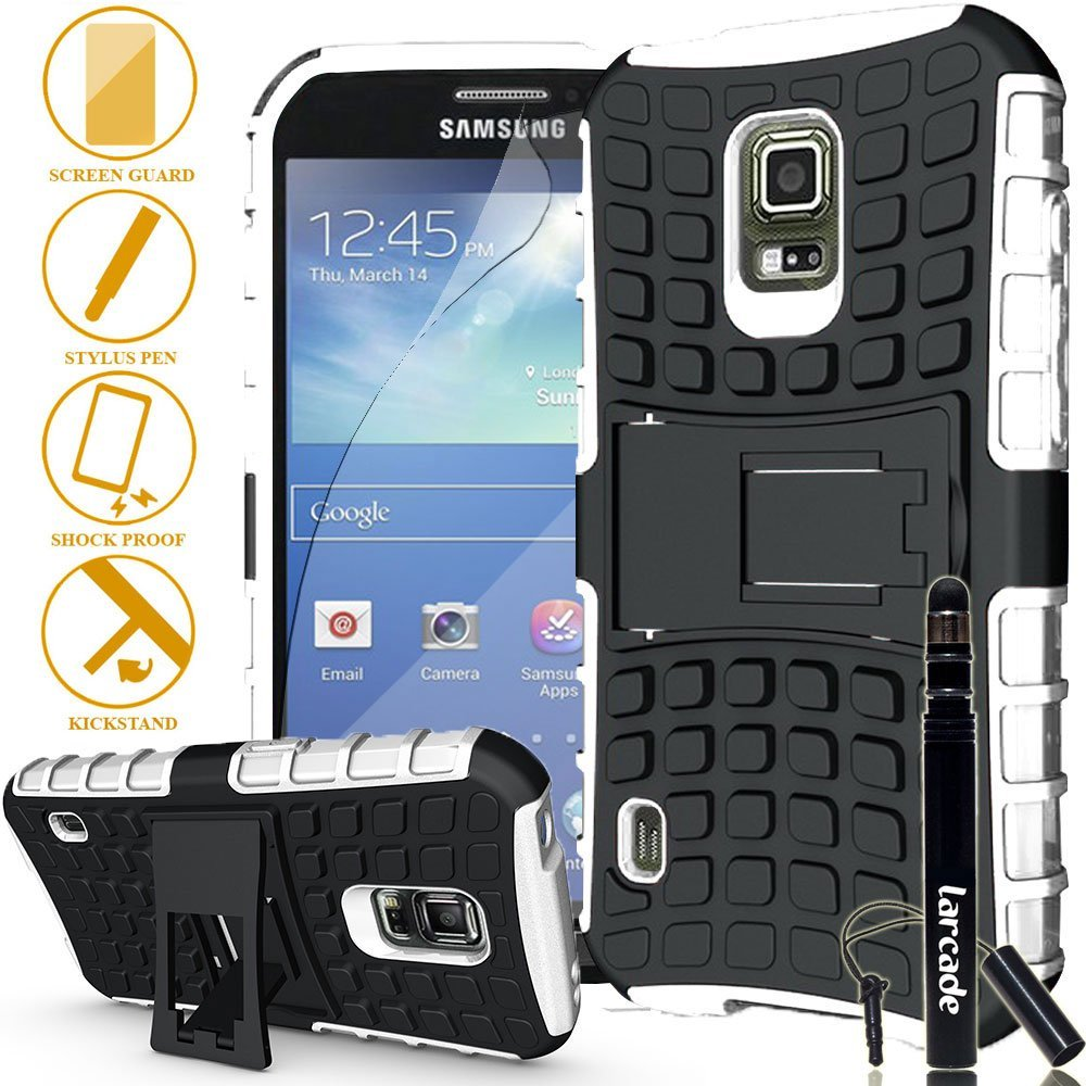 LARCADE (TM) 3 in 1 Bundle - Samsung Galaxy S5 Active (for SM-G870A Water and Shock Resistant Version Smartphone) - Heavy Duty Grenade Armor Case with Kickstand - White (Include Premium Screen Protector & Sensitive Cap Stylus Pen by LARCADE)(Not Fit Samsung Galaxy S5 Regular Version i9600)