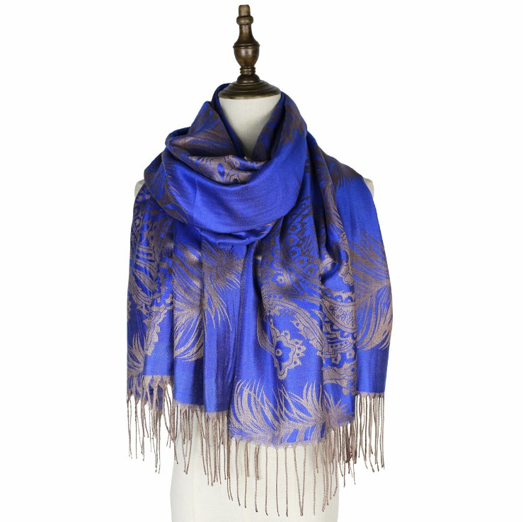 Colorful paisley Jacquard cotton pashmina Women Wrap Shawl tassels fashion scarf