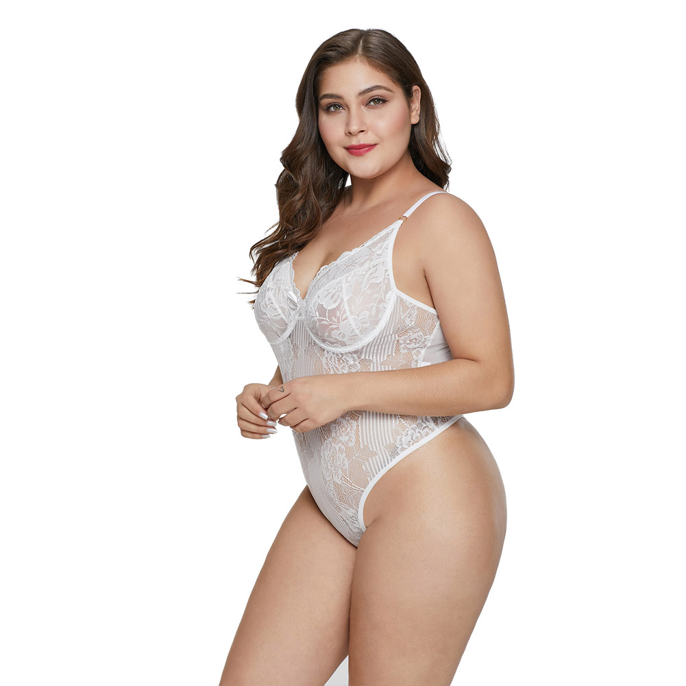 Sweet Floral Plus Size Teddy Lingerie Women Sexy Babydoll