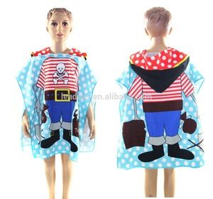 Wholesale Microfiber Children Soft Poncho Hooded Beach Towels For Kids