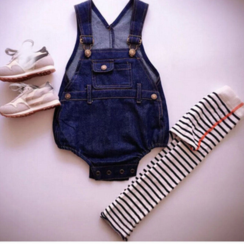 HOT new 2016 Baby Rompers Solid Jeans Overalls For Girls Children pants Bebe Coveralls Kids Jumpsuits 1-6Y