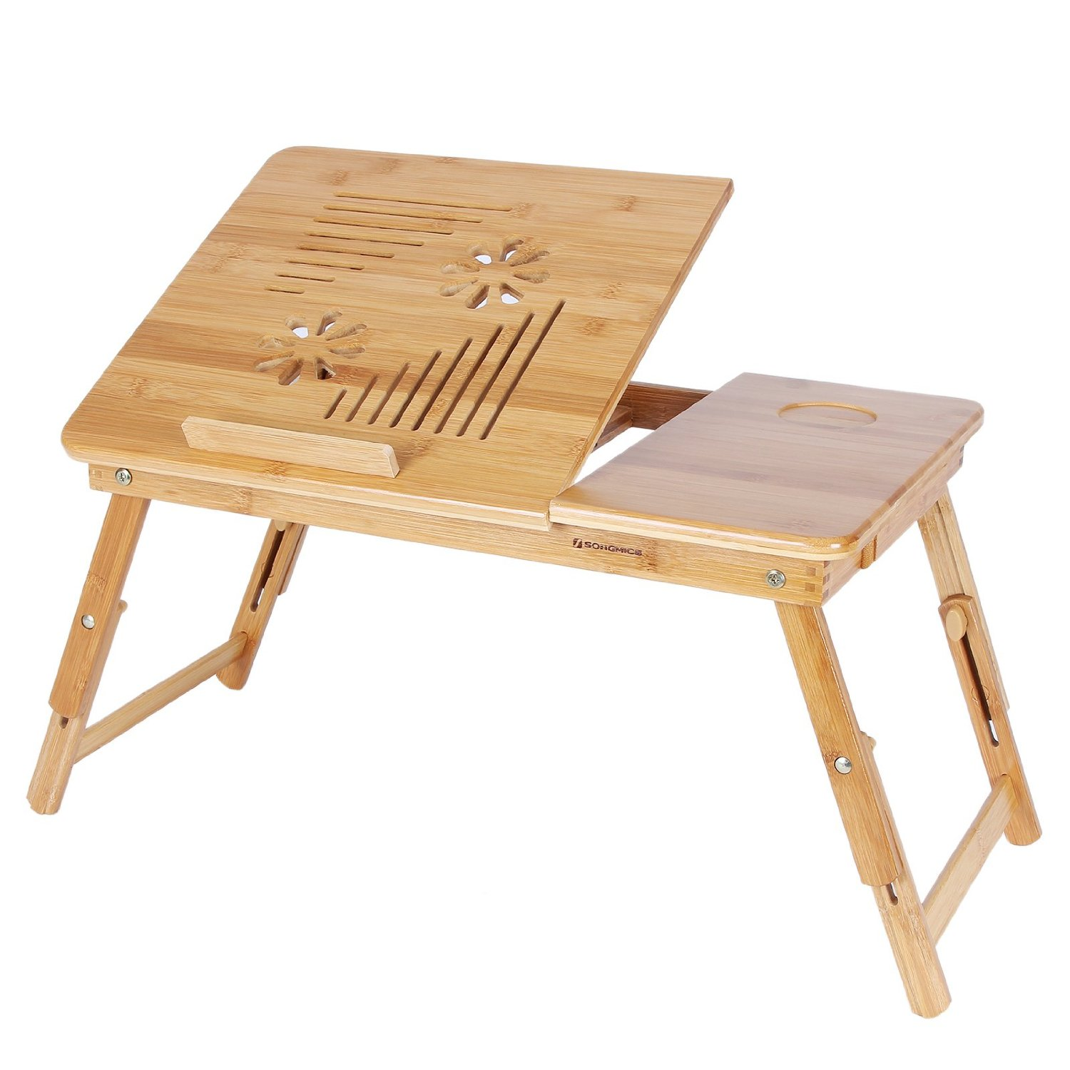 SONGMICS 100% Bamboo Adjustable Laptop Desk/Table Breakfast Serving Bed Tray w' Tilting Top Drawer ULLD002