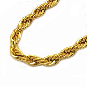 Olivia Hot-selling Large Size Chunky Jewelry Stainless Steel 6mm Thick Rope Chain 24k Gold Necklace