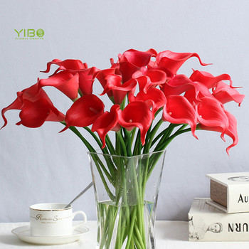 New Design Lifelike Red Color PU Natural Touch Mini Calla Lily Bouquet