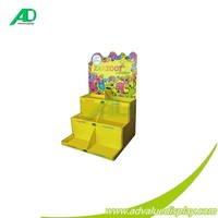 stepped construction corrugated paper counter display stand for kids children for supermarket sales