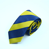 blue with yellow color new design polyester striped boys mens necktie skinny school tie custom