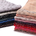 Low price hot chiffon hot drilling multicolor scarf muslim stone hijab women wholesale