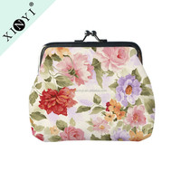 Latest ladies fashion change purse festival promotional gift custom wholesale cluth coin purse with flower printing