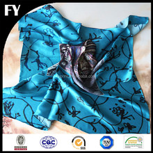 100% twill silk designer 90x90 scarves custom digital printed