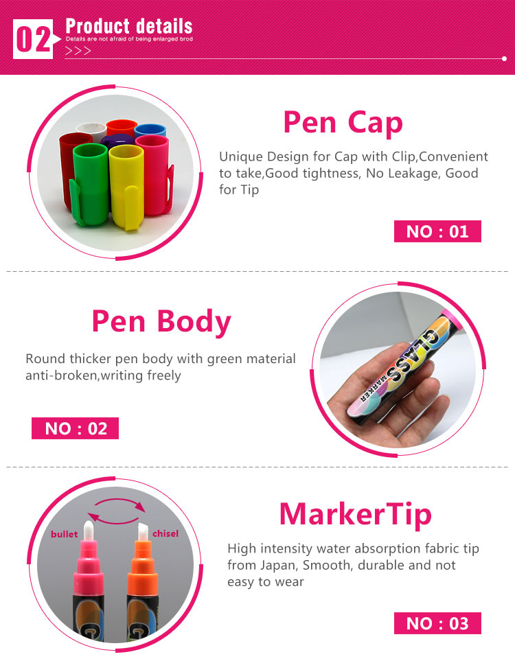 China wholesale 8 colors 6 mm fine tip erasable water chalk marker pen for design